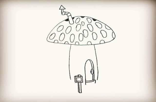 简笔画 蘑菇房