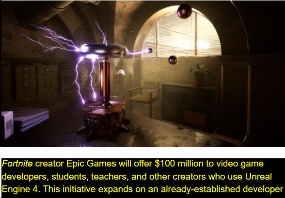 Epic在GDC大会宣布1亿美金的创作者资助计划