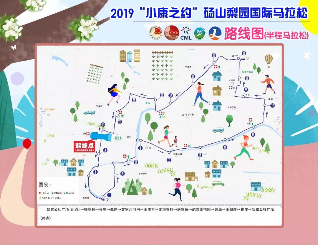 一路奔跑一路花!2019砀山梨园国际马拉松赛道路线图出炉啦!图片