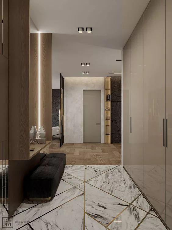 家里玄关设计成这样,实用又大气,超喜欢地砖的设计~