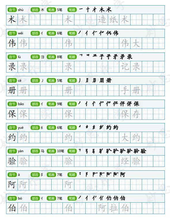 部编版语文1 6年级下册生字书写字帖 含笔顺 组词 描红