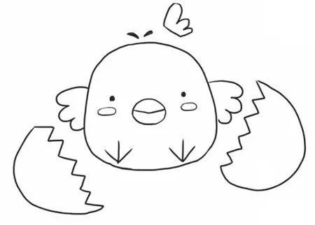 儿童可爱卡通小鸡简笔画的画法