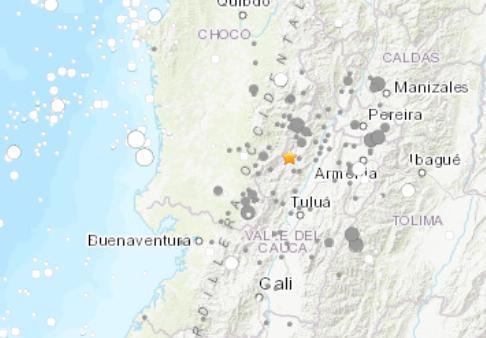 哥伦比亚发生6.1级地震 未传出伤亡或损害灾情
