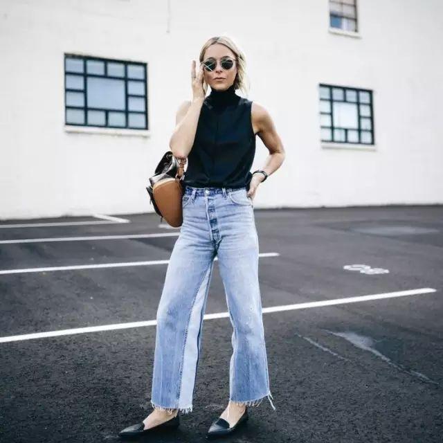 2019春夏最流行,最時髦的,非牛仔闊腿褲莫屬!圖片