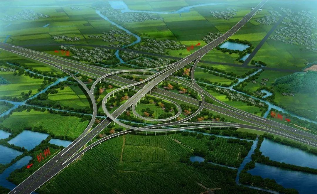 绍台高速公路工程齐贤枢纽互通效果图图片