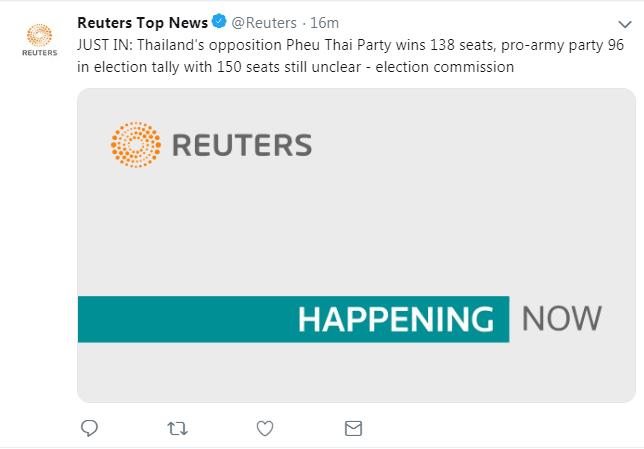 泰国大选非正式统计结果公布:为泰党获138席,人民国家力量党获96席