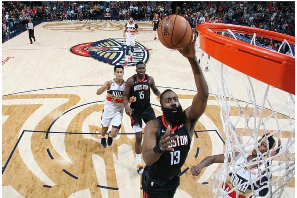 NBA火箭VS鹈鹕:哈登28分保罗10+13+5轻取鹈鹕,休城正式锁定