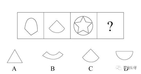 题干每幅图形都由直线和曲线构成,排除a项; 继续观察,发现每幅图形都只有一条曲线,排除b项: 对比c项和d项,发现c项图形直线数多于曲线数,d项直线数等于曲线数,观 察题干图形都是直