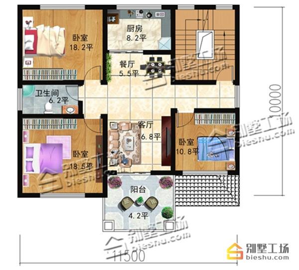农村110平方米别墅设计图,3层框架结构40万