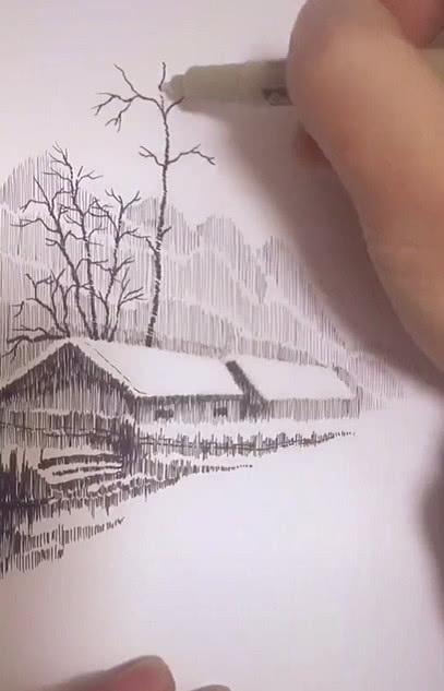 美术生用两块钱黑笔,画出2000块的效果,全是黑色却像是白雪