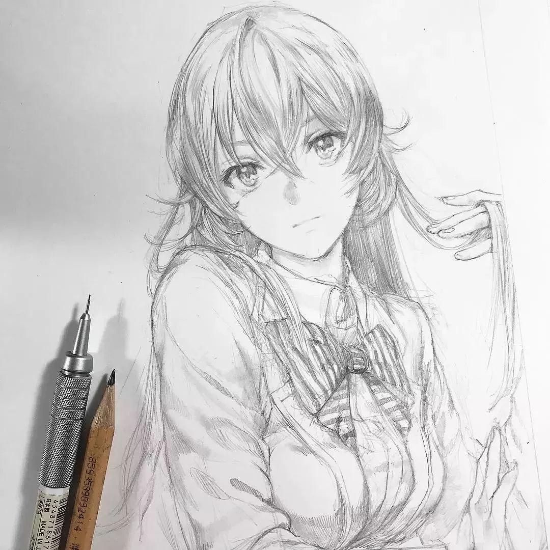 绘画欣赏 自动铅笔画出来的二次元人物,唯美手绘插画
