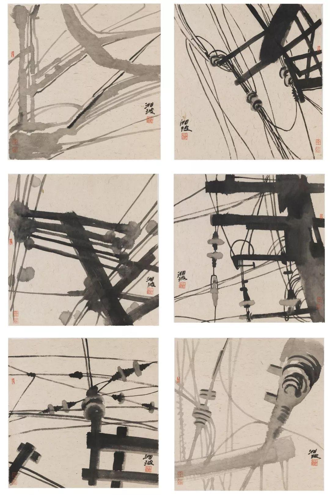 69_陈湘波 《工业时代·网》 69.5×69.5cm×6 纸本水墨 2015年