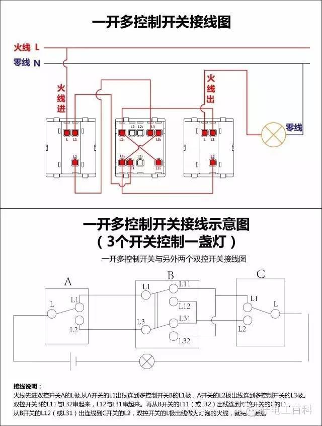 最全开关接线图 单控 双控 三控 四控 控制