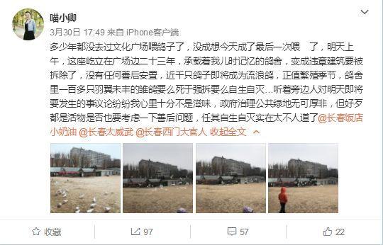 【热点】长春文化广场的鸽子舍拆了,这是多少人的回忆啊!