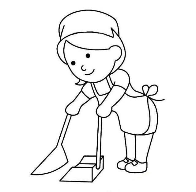 儿童简笔画扫地的保姆简笔画图片扫地的保姆人物简笔画步骤图片大全 简笔画
