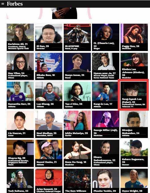 faker入選亞洲娛樂體育三十歲以下名人榜,遺憾UZI沒有入選