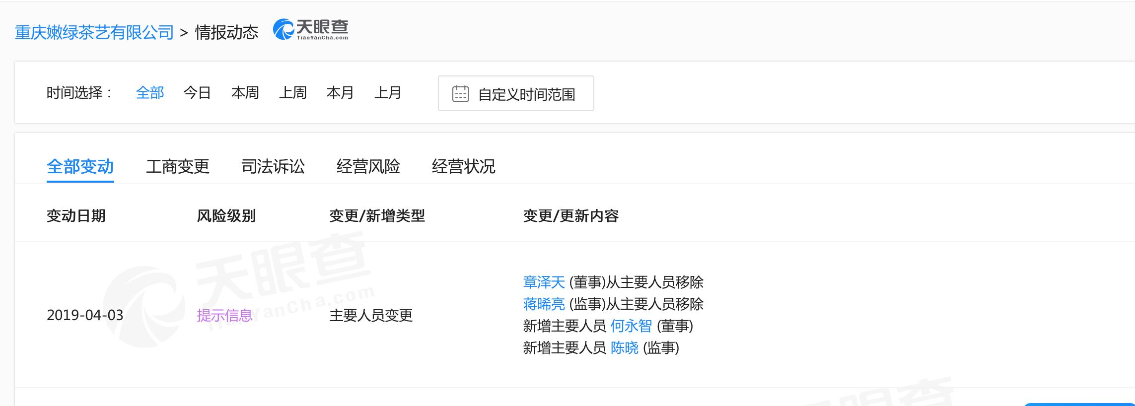 章泽天卸任刘强东旗下公司重庆嫩绿茶艺董事