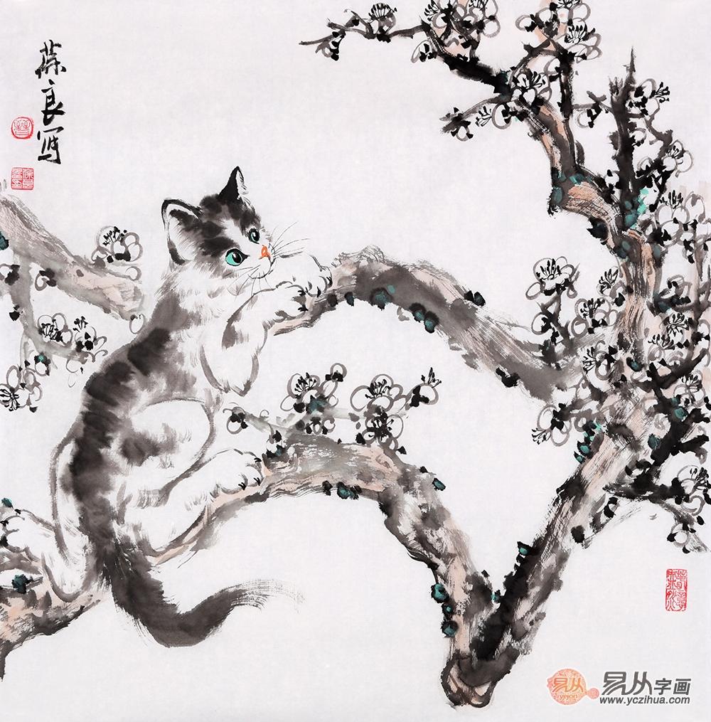 国画猫作品 看当代画家晋葆良的 猫趣人生