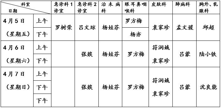 曲靖市中医医院2019年清明节放假期间门诊工作安排(含名医馆)