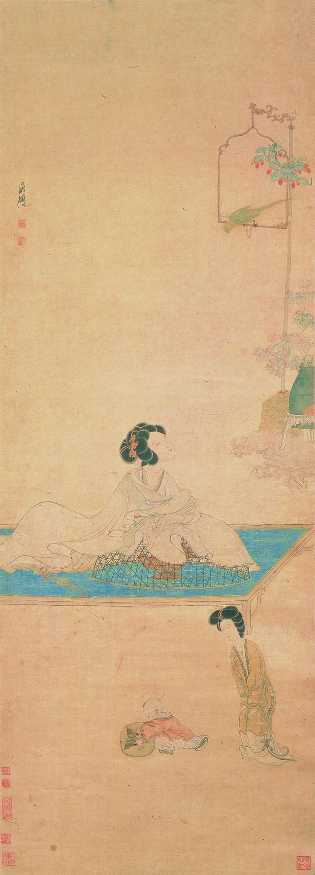 明,陈洪绶《斜倚薰笼图》(上海博物馆藏)