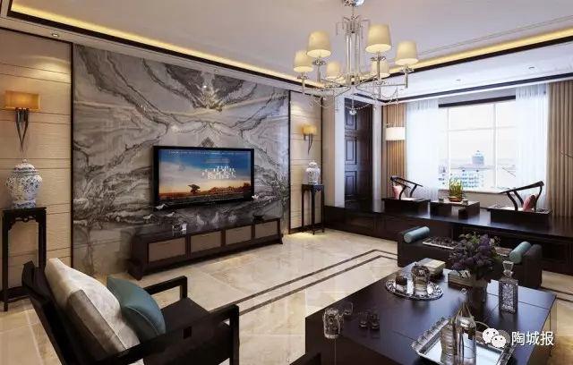 客厅用大理石瓷砖背景墙,简约轻奢新中式N种风格都能搭