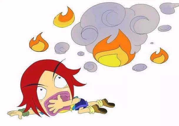 着火逃生卡通图片