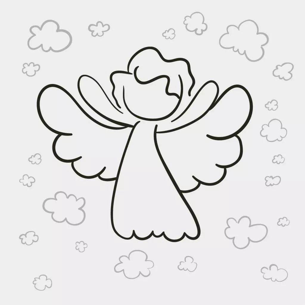 可爱单色矢量图天使简笔画 第1页 一起扣扣网