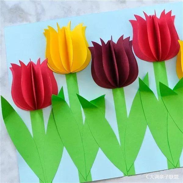 彩纸手工制作春天