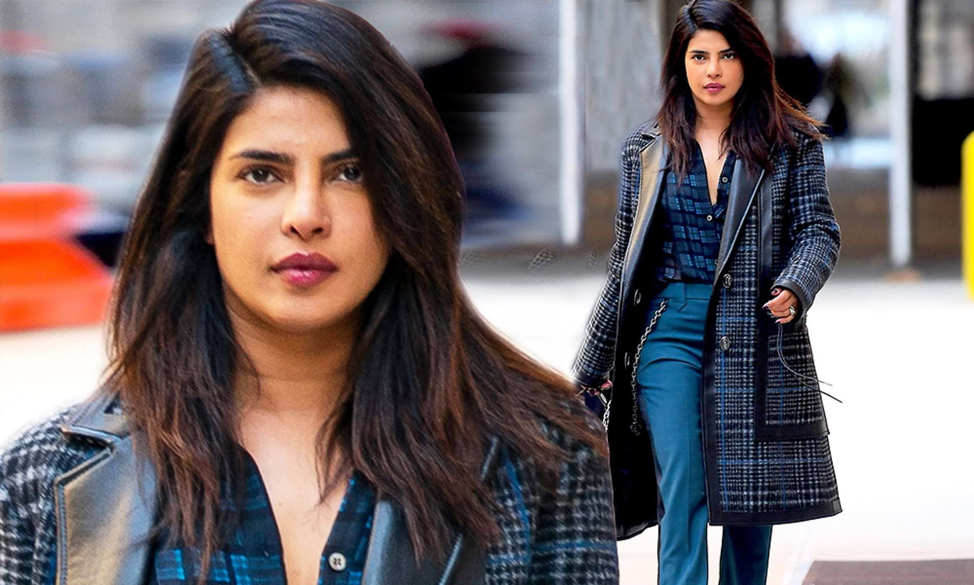 36岁印度巨星穿蓝格子大衣气场足,娃娃脸显嫩,小10岁老公超宠她