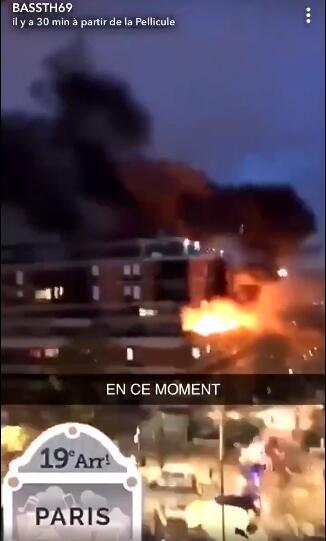 法国巴黎一栋建筑着火并发生爆炸