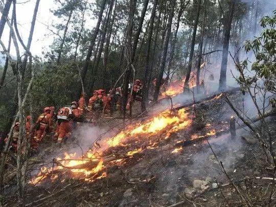 木里县森林火灾火场复燃,扑救工作紧急救援中