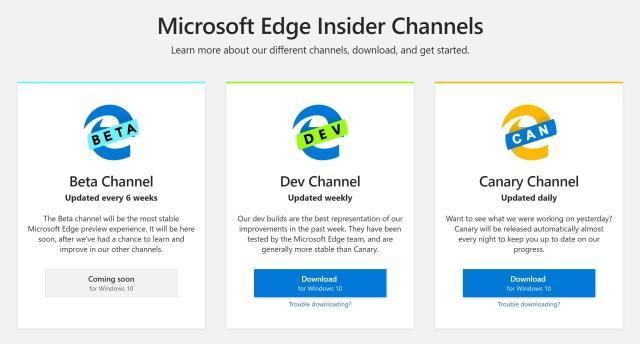 微软发布 Chromium 版 Edge 浏览器公开测试版本
