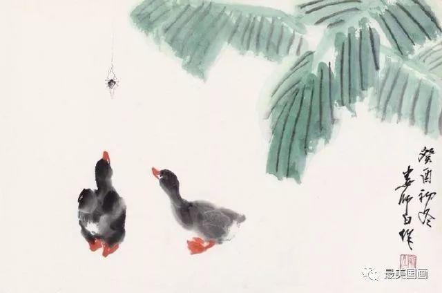 中国画 鸭趣 娄师白 绘