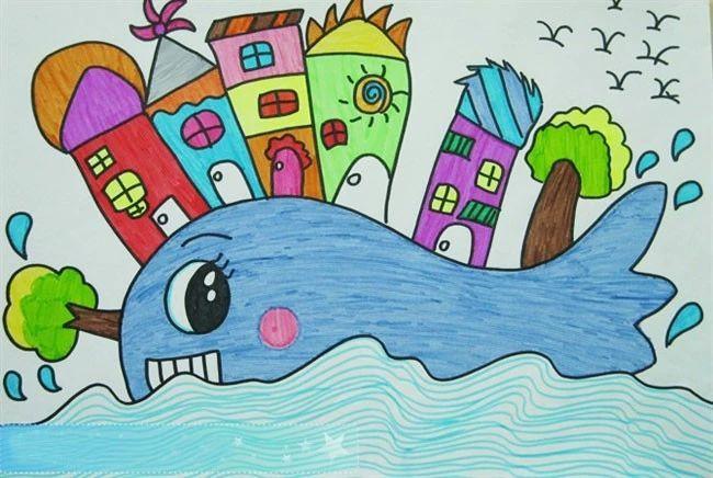 儿童蜡笔画作品欣赏 鲸鱼大陆 蜡笔画 查字典幼儿网儿童画
