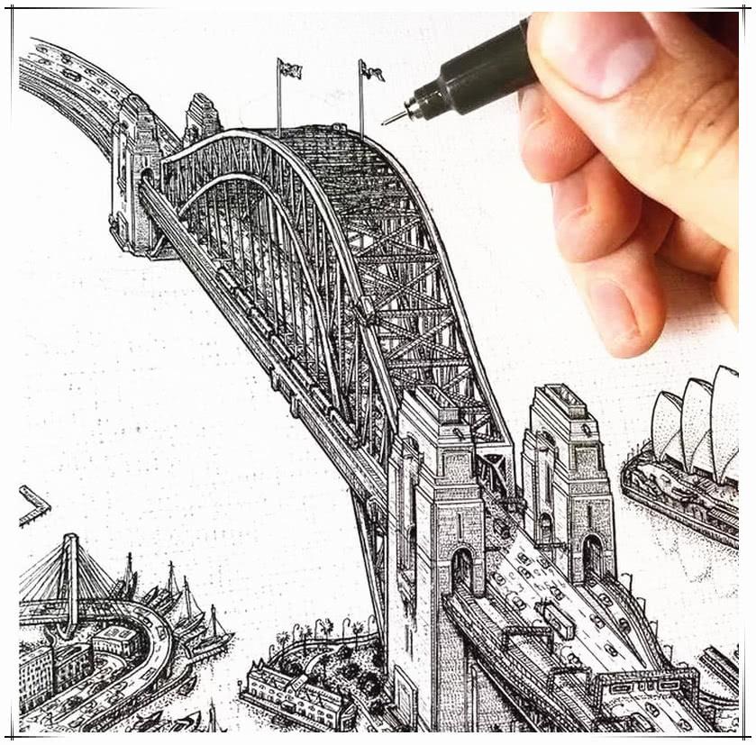 1块钱针管笔能画出什么 美术生针管笔画出全世界,这也太秀了