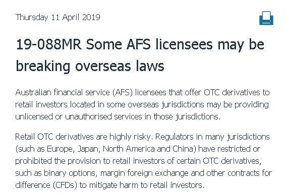 ASIC:部分在海外开展业务的持牌机构或违反当地法律_券商非持牌业务
