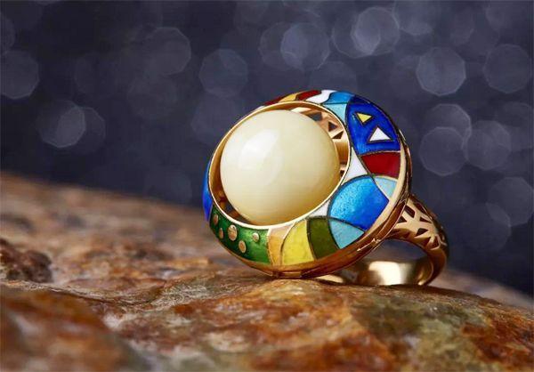 时尚潮新 琥珀蜜蜡戒指