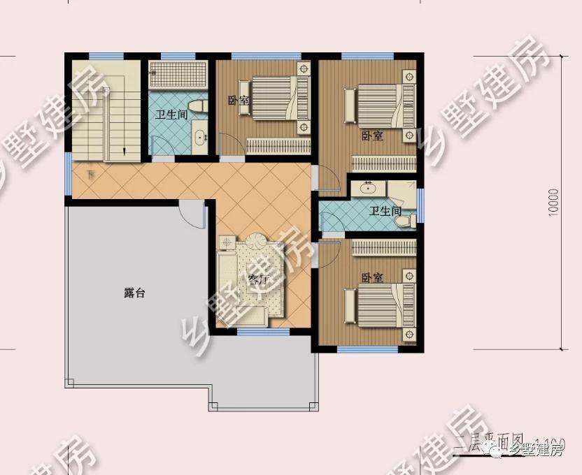 二层平面图:二层设客厅、三间卧室、两间卫生间、大露台.