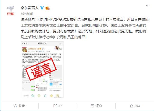 京東辟謠離世員工被裁:沒有參與京東貸款購房計劃_京東集團