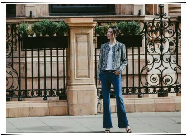 梁洛施小香风外套配牛仔裤,简单穿搭美出新高度,天鹅颈好看极了