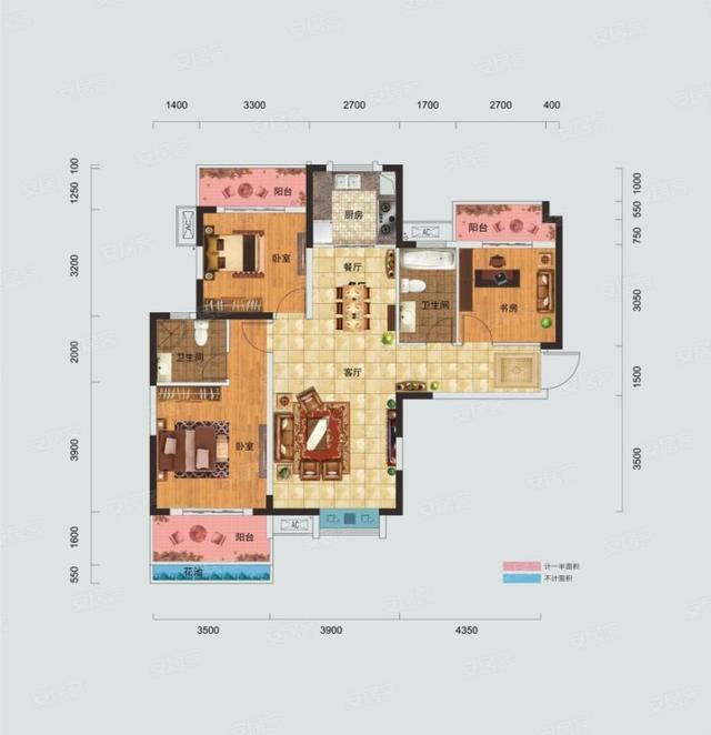 有三室二厅二卫的新房(小县城)120平米预计装