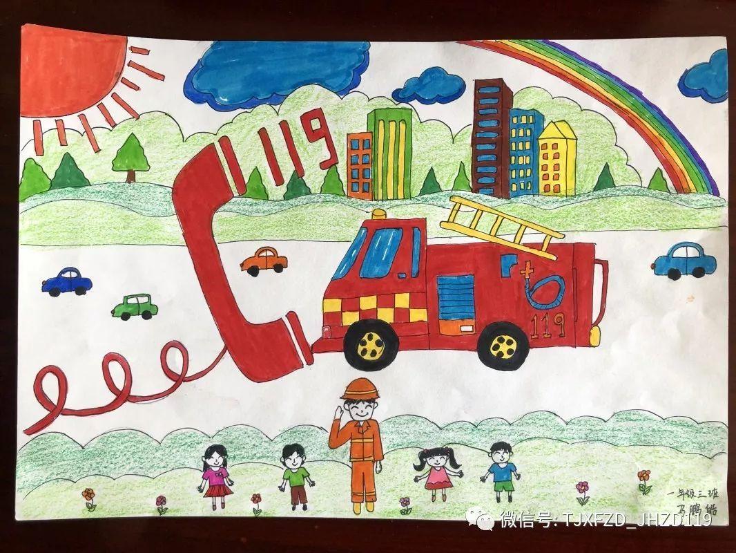 """消防卫士   最不想""""火""""的人   火警电话""""119""""   一起欣赏孩子的作品吧   小朋友拿起彩笔""""画消防""""   一起来感受童真与消防碰撞出的火花吧"""