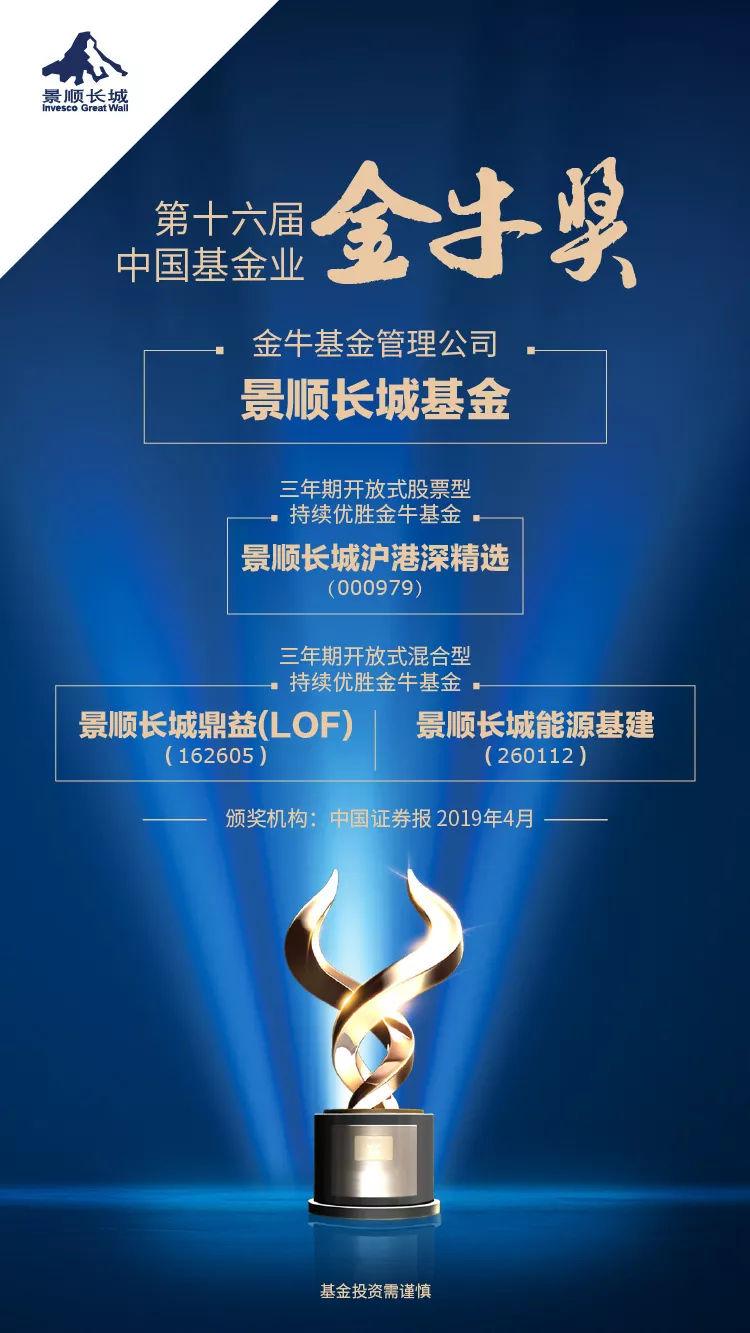 【组图】 景顺长城荣获2018年度十大金牛基金管理公司