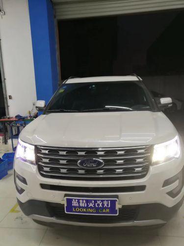 上海LED大灯改装的看看 福特探险者改灯加套件完美搞定