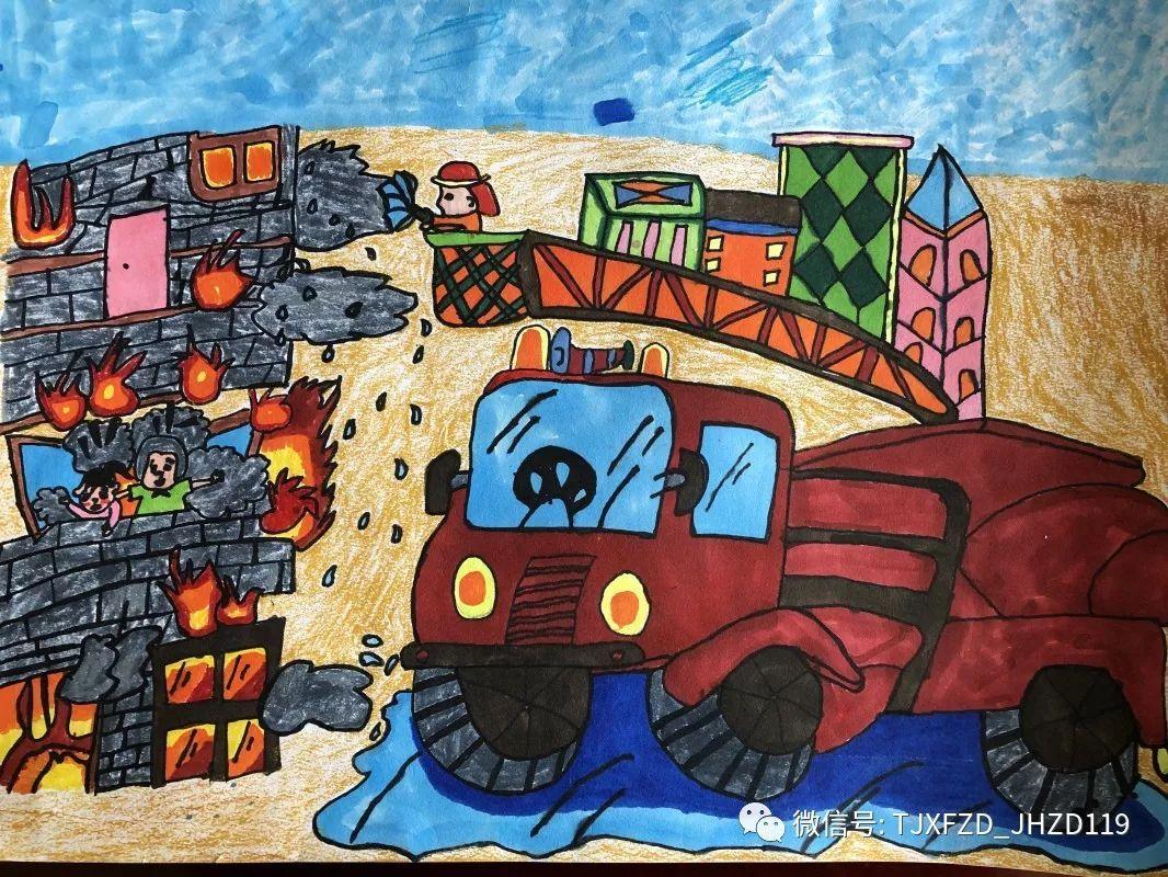 消防主题幼儿绘画作品