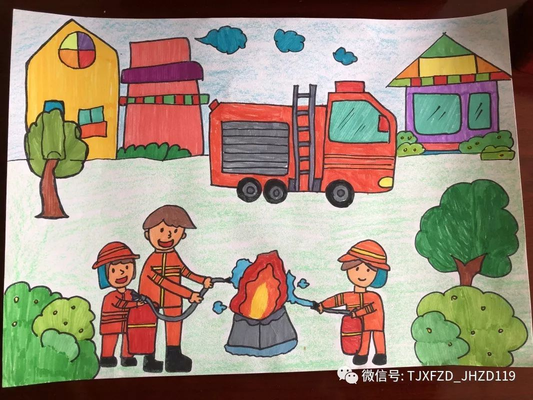 消防为主题的绘画作品