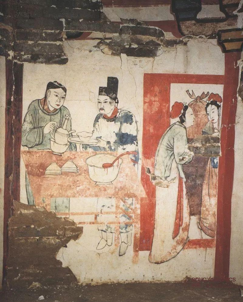 河北宣化辽墓壁画《持镜图》 图片_图片_红动手机版