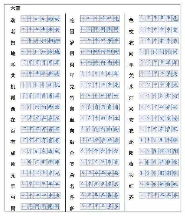 语文老师整理 小学低年级生字笔顺表 为孩子收藏