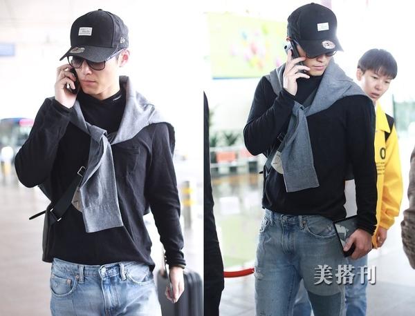 窦骁清爽少年风穿搭现身机场,遭粉丝近距离拍照丝毫不影响打电话