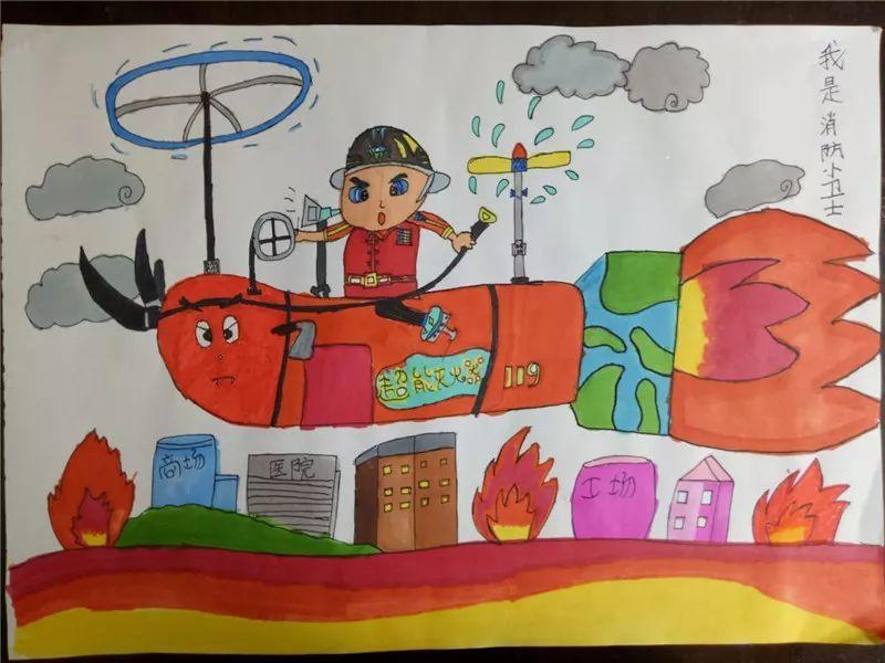 中旬,学校组织五年级学生开展了消防安全伴我行绘画、手抄报比